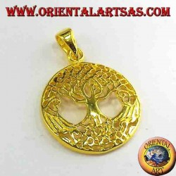 Árbol de la Vida de oro colgante de plata plateado