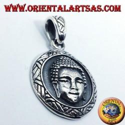 Silver pendant buddha face