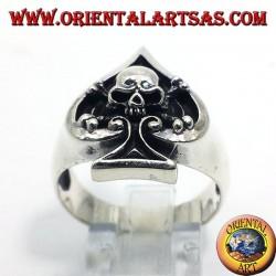anello in argento Asso di picche con teschio