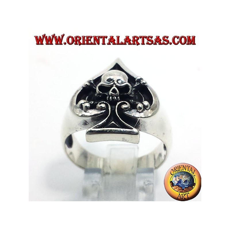 Ace of spades with skull, silver ring