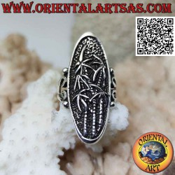 Oval silver ring with...