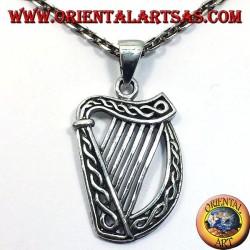 Keltische Harfe Anhänger in Silber