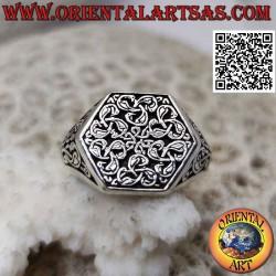 Anello in argento esagonale...
