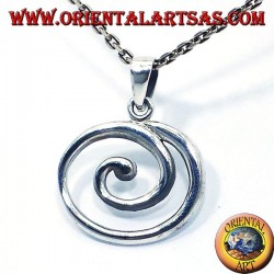 silver pendant, large spiral