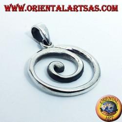 silver pendant, large spiral