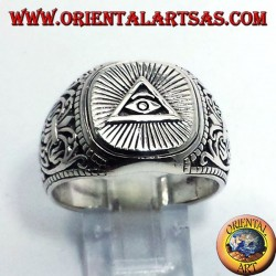 silver ring, pyramid of the Illuminati