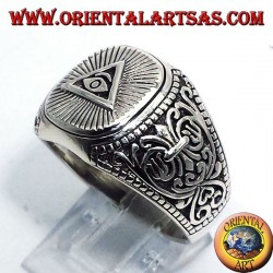 silver ring, pyramid of the Illuminati