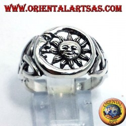 Silver ring, sun and moon with Celtic knot