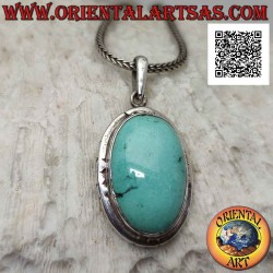 Silver pendant with oval...