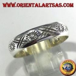 fedina in argento intagliata a mano sole