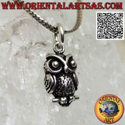 Silver pendant, owl on the...