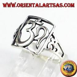 Silver ring, pierced sacred symbol OM