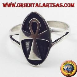silver ring Egyptian Ankh cross