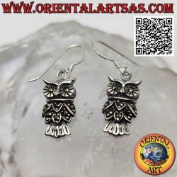 Silver earrings with owl...
