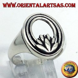 silver ring lotus flower