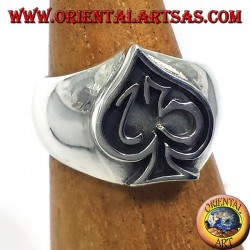 anillo de plata as de picas con trece