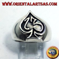 silver ring Ace of Spades with thirteen