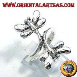 Silver ring with two dragonflies