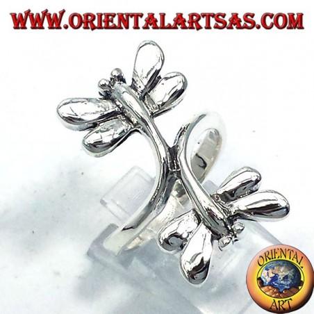 Silberring mit zwei Libellen