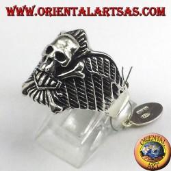 Silver ring skull biker bones