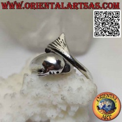 Silver ring, dolphin...