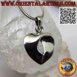 Silver pendant, wide smooth...