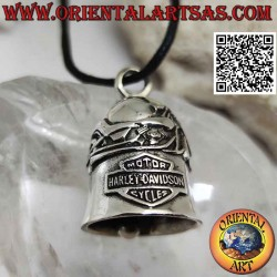 Silver bell pendant with...
