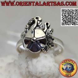 Silver ring, smooth lotus...