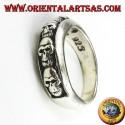 anello in argento fascia teschi