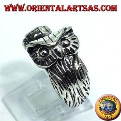 anillo de plata, búho envolvente