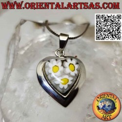 Silver pendant, heart with...