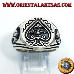 anello in argento Asso di picche teschio con rosa in bocca