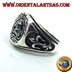 silver ring Ace of spades skull with rose in mouth