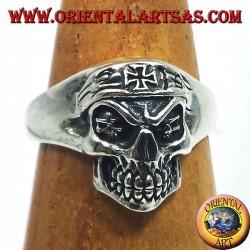 silver ring, biker skull with iron cross