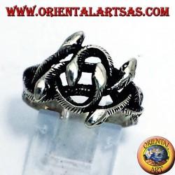 Silber Ringknoten von sechs Schlangen