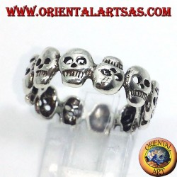 fascetta di teschi anello in argento