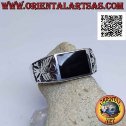Silver ring with horizontal...