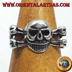 silver ring, on the skull bones
