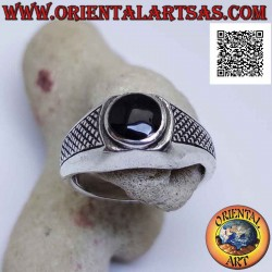Silver ring with round...