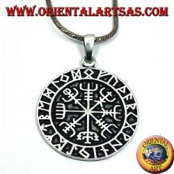 silver pendant, Aegishjalmur with runes