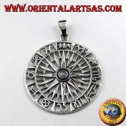 Ciondolo in argento bussola con rosa dei venti e zodiaco