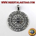 silver pendant, compass with wind rose and Zodiac