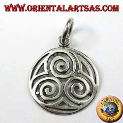 silver pendant, The triple spiral druids