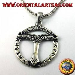 ciondolo in argento albero del mondo  con rune