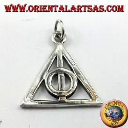 Mortal santifica el colgante de plata en círculo dentro de un triángulo