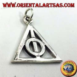 Deathly Hallows pendant in silver circle inside a triangle