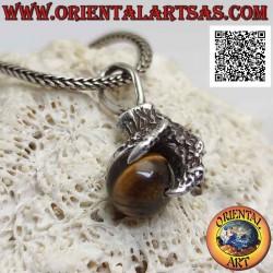 Silver pendant, tiger eye...