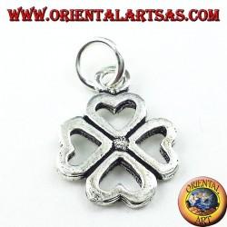 Silber Anhänger, vierblättrige Kleeblatt