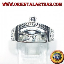 silver ring with Eye of Horus Ankh