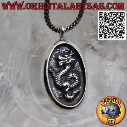 Silver pendant, oval medal...